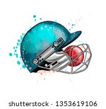 cricket helmet with ball from a ... | Shutterstock .eps vector #1353619106