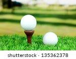 golf balls on grass outdoor... | Shutterstock . vector #135362378