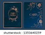 navy wedding invitation  floral ... | Shutterstock .eps vector #1353640259