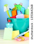 cleaning items in bucket on ... | Shutterstock . vector #135364268