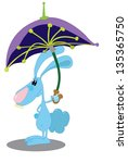 rabbit with umbrella | Shutterstock . vector #135365750