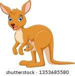 cartoon mother kangaroo with a...   Shutterstock . vector #1353685580