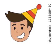 man smiling with birthday hat... | Shutterstock .eps vector #1353689450
