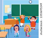 happy little school kids in the ... | Shutterstock .eps vector #1353695249