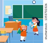 happy little school kids in the ... | Shutterstock .eps vector #1353702326