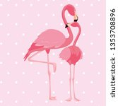 elegant flamingo birds couple... | Shutterstock .eps vector #1353708896