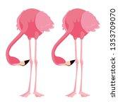 elegant flamingo birds couple | Shutterstock .eps vector #1353709070