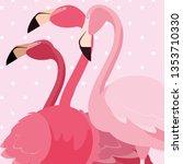 flock of elegant flamingos... | Shutterstock .eps vector #1353710330