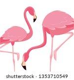 elegant flamingo birds couple | Shutterstock .eps vector #1353710549