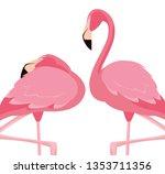 elegant flamingo birds couple | Shutterstock .eps vector #1353711356