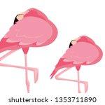 elegant flamingo birds couple | Shutterstock .eps vector #1353711890