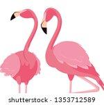 elegant flamingo birds couple | Shutterstock .eps vector #1353712589