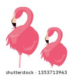 elegant flamingo birds couple | Shutterstock .eps vector #1353713963