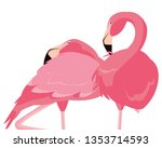 elegant flamingo birds couple | Shutterstock .eps vector #1353714593