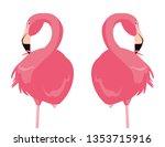 elegant flamingo birds couple | Shutterstock .eps vector #1353715916