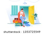 flat man waiting trip and looks ... | Shutterstock .eps vector #1353725549