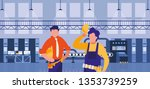couple of men working in factory | Shutterstock .eps vector #1353739259