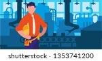 elegant engineer in factory... | Shutterstock .eps vector #1353741200