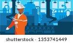 worker black in factory... | Shutterstock .eps vector #1353741449
