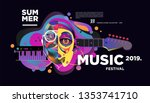 summer colorful art and music... | Shutterstock .eps vector #1353741710