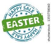 happy easter sale rubber stamp...   Shutterstock . vector #1353758060