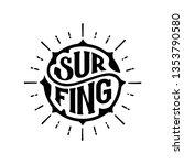 surfing typography. handwritten ... | Shutterstock .eps vector #1353790580