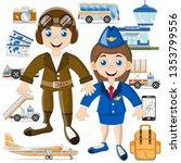 cute pilot and stewardess.... | Shutterstock .eps vector #1353799556