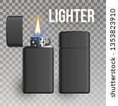 lighter . fuel tool. smoke sign.... | Shutterstock . vector #1353823910