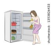 woman sneaks to the fridge.... | Shutterstock .eps vector #1353826433