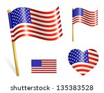 set of country usa flag icons | Shutterstock .eps vector #135383528