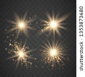 set of glowing light stars with ... | Shutterstock .eps vector #1353873680