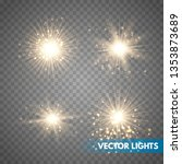 set of glowing light stars with ... | Shutterstock .eps vector #1353873689