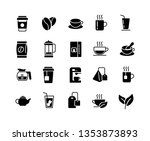 coffee and tea black and white... | Shutterstock .eps vector #1353873893