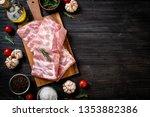 fresh raw pork ribs with...   Shutterstock . vector #1353882386