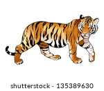 red tiger. cartoon and vector... | Shutterstock .eps vector #135389630