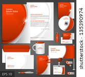 red corporate identity template ... | Shutterstock .eps vector #135390974