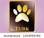 gold badge or emblem with paw... | Shutterstock .eps vector #1353956783