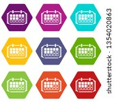 reminder icons 9 set coloful... | Shutterstock . vector #1354020863
