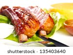 baby back ribs with polenta | Shutterstock . vector #135403640