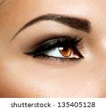 brown eye makeup. eyes make up. ...   Shutterstock . vector #135405128
