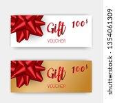 luxury gift vouchers set. red... | Shutterstock .eps vector #1354061309
