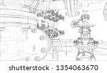 sketch of industrial equipment. ... | Shutterstock .eps vector #1354063670