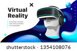 virtual reality headset. a... | Shutterstock .eps vector #1354108076