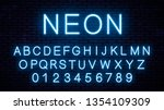vector blue neon english letters | Shutterstock .eps vector #1354109309