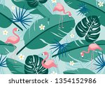 seamless pattern tropical... | Shutterstock .eps vector #1354152986