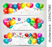 holiday banners with colorful... | Shutterstock .eps vector #135417080