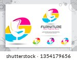 furniture vector logo with... | Shutterstock .eps vector #1354179656