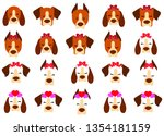 large set of dog faces with a... | Shutterstock .eps vector #1354181159