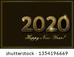 gold confetti 2020 new year... | Shutterstock .eps vector #1354196669