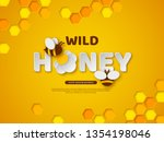 paper cut style bee with... | Shutterstock .eps vector #1354198046
